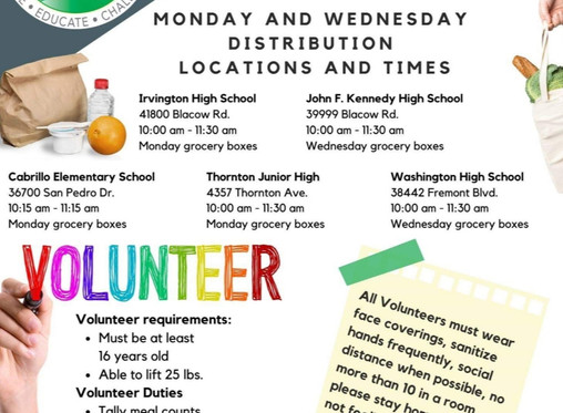 Summer 2020 Grab and Go for Fremont youth and families
