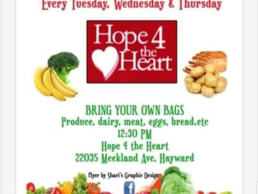 Food Giveaway 3 times a week in Hayward.