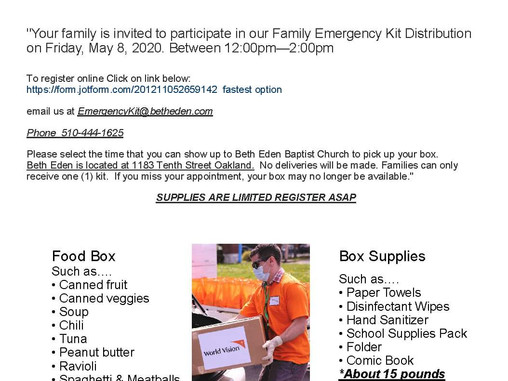 Is your family in need of food and supplies? Register for a free Family Emergency Kit.