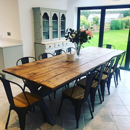The Rustic shabby chic x base table with 2 benches