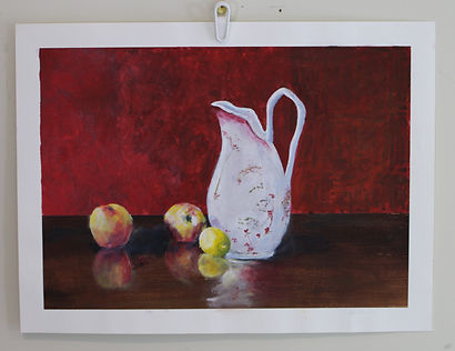 Olilve's Pitcher and Apples.JPG