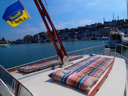 solarium sur le pont avant du yacht Time Out