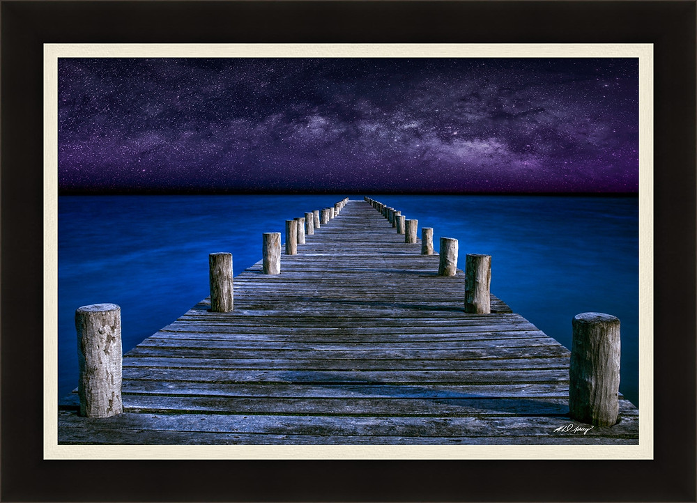 Pier leading to the galaxy of stars in Cancun Mexico
