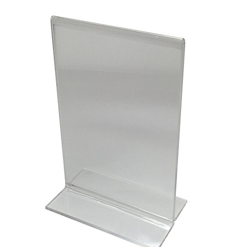 "Acrylic T-Base Sign Holder - 5""W x 7""H"