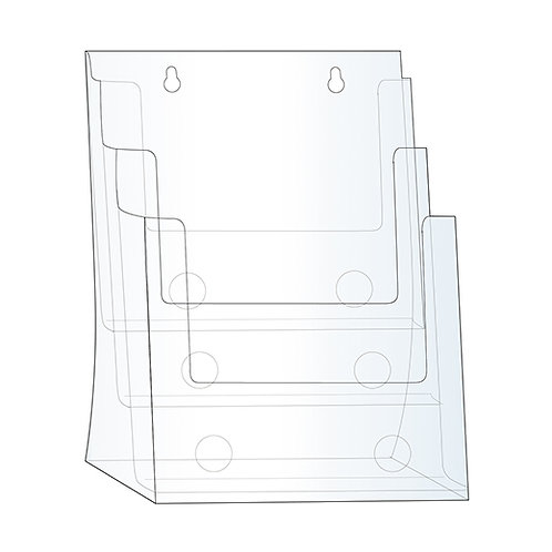Acrylic Brochure Holder - 3 BAY LETTER SIZE