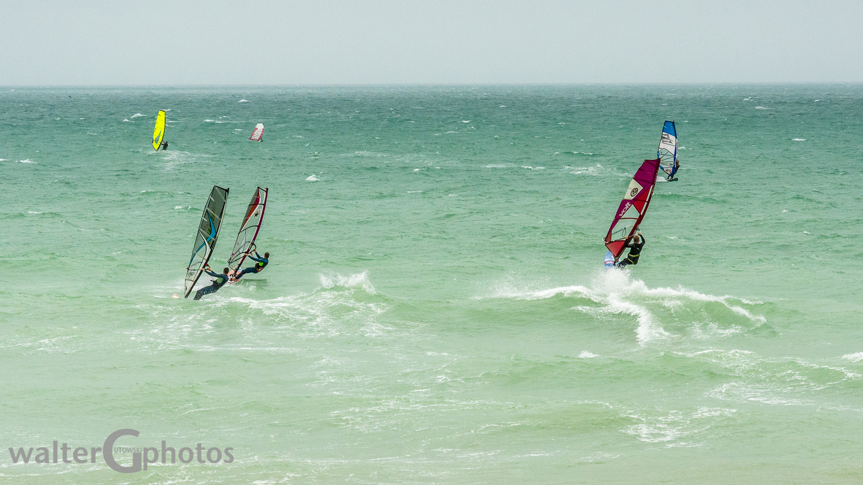 Wind surfing off Shoreham-by-Sea, England