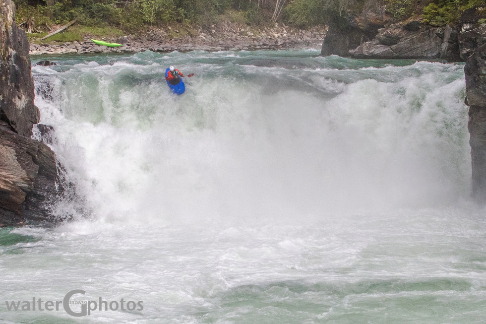 Kayak over Overlander Falls, BC