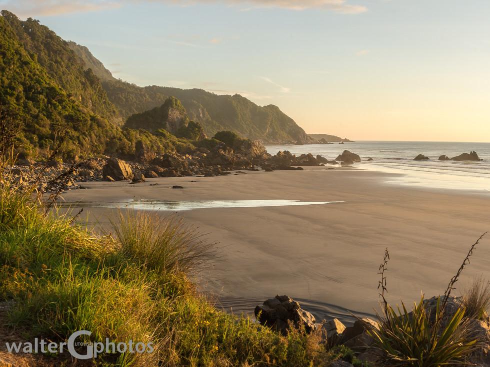 Golden hour beach near Punakaiki, New Zealand