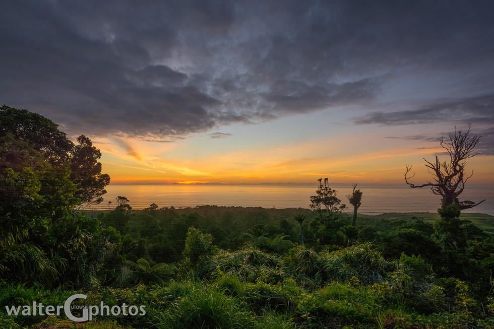 Sunset north of Punakaiki, New Zealand