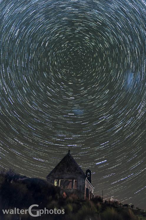 Star Trails over Church of the Good Shepherd, Lake Tekapo, New Zealand