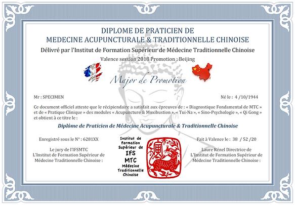 Diplôme de praticien de médecine acupuncturale et traditionnelle chinoise, formation de MTC en ligne