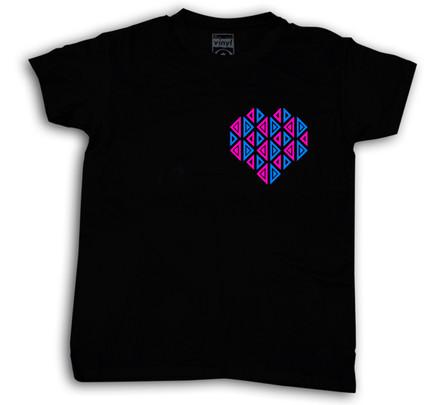 Camiseta Oberta Corazón de Bolsillo Chico Negro
