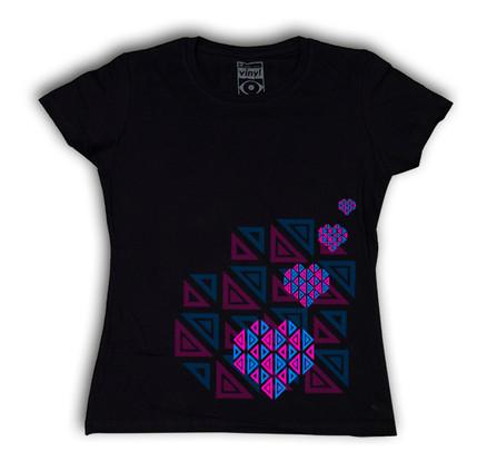 Camiseta Oberta Corazones Chica Negro