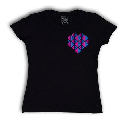 Camiseta Oberta Corazón de Bolsillo Chica Negro