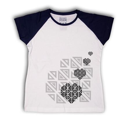 Camiseta Oberta Corazones Chica Blanco & Negro