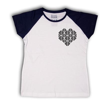 Camiseta Oberta Corazón de Bolsillo Chica Blanco & Negro