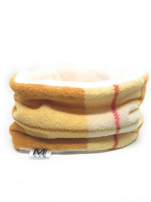 Cream and Gold Plaid Snood (Cream Reverse)