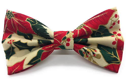 Gold Leaf Poinsettia (Cream) Bow Tie