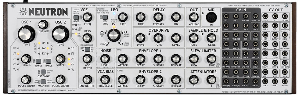 """V2 Firmware Whiteout + GREY Labels"" Overlay For Behringer Neutron"