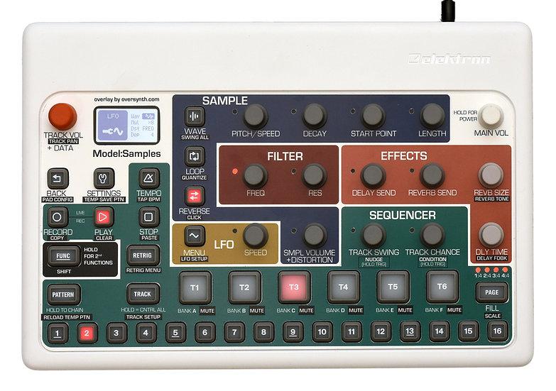 """Foxwalker (No Piano Keys Along Bottom)"" Overlay For Elektron Model:Samples"