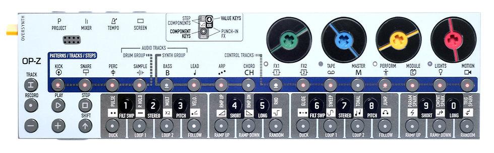 """Blue-Caption"" Sticker Overlay for Teenage Engineering OP-Z (OP-Z Skins)"
