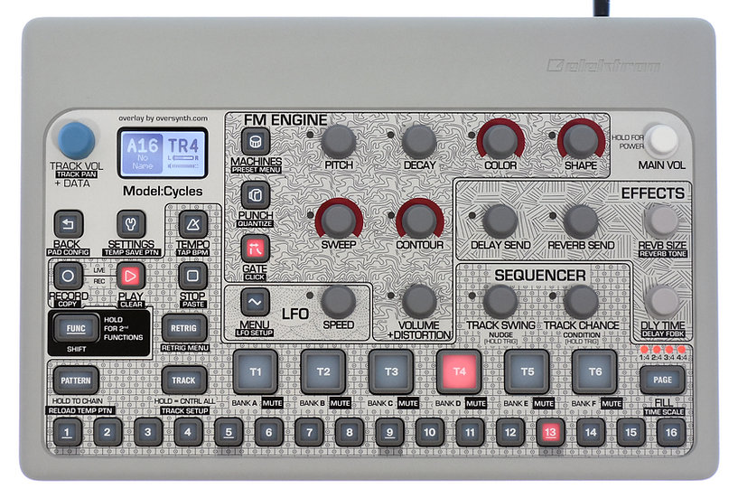 """Pattern Sequencer (No Piano Keys)"" Overlay For Elektron Model:Cycles"