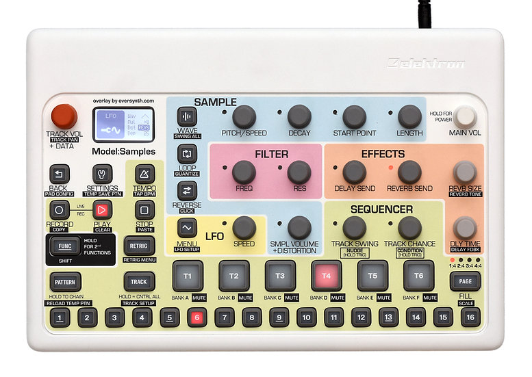 """Sunbleach (No Piano Keys Along Bottom)"" Overlay For Elektron Model:Samples"