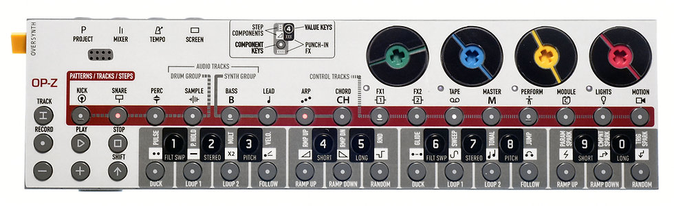 """White-Caption"" Sticker Overlay for Teenage Engineering OP-Z (OP-Z Skins)"