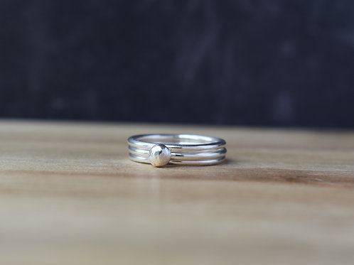 DEWDROP SILVER STACKING RINGS