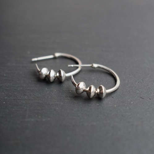 SILVER HOOP CHARM EARRINGS