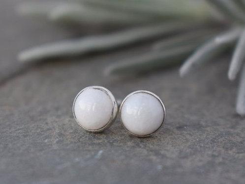WHITE JADE STUD EARRINGS
