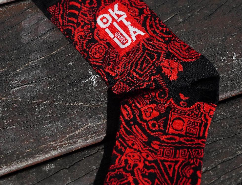 Meias Vermelha e Preta Okutua