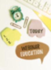 Writing note showing Webinar Education.