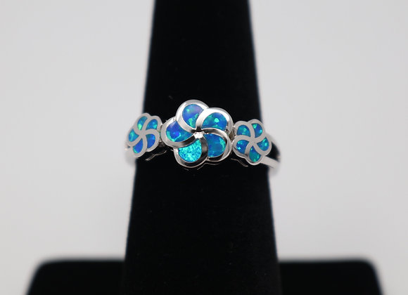 Floral Sea Blue Opal Ring SS With Gift Box