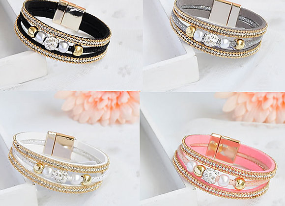 Zinc Alloy Rhinestone Clay Pave Bead Leather Bracelet