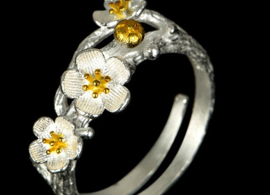 Floral Two Tone Ring 925 SS With Gift Box