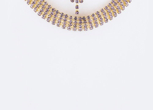 Rhinestones Purple Choker Necklace Set With Gift Box