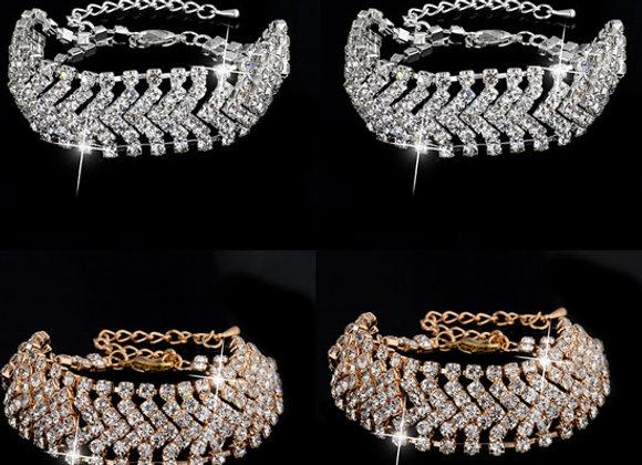 Zinc Alloy Rhinestone Broad Belt Bracelet