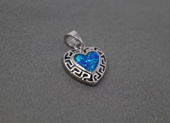 Sea Blue Heart Pendant SS