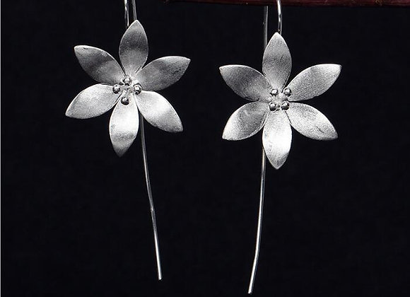 Six Petals Floral Earrings 925 SS With Gift Box