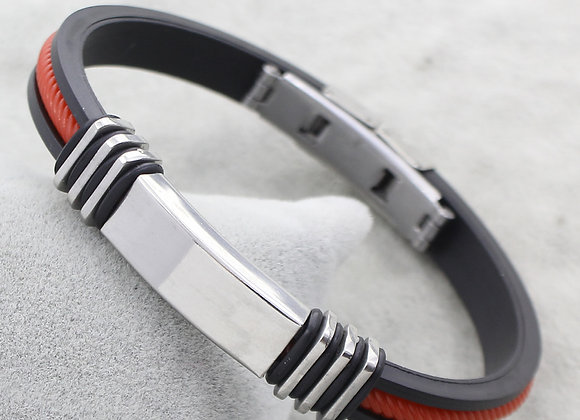 Men Silicon Stainless Still Balck-Red Line Bracelets