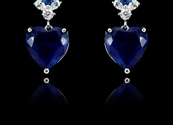 Heart Dangle Blue Earrings CZ BZ With Gift Box