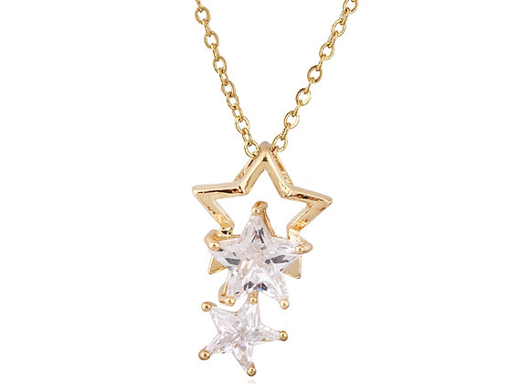 Cubic Zirconia Three Star Necklace