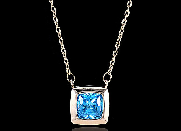 Blue Square Fashion Necklace With Gift Box