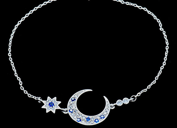 Elegant Moon Blue Stone Bracelet CZ BZ With Gift Box