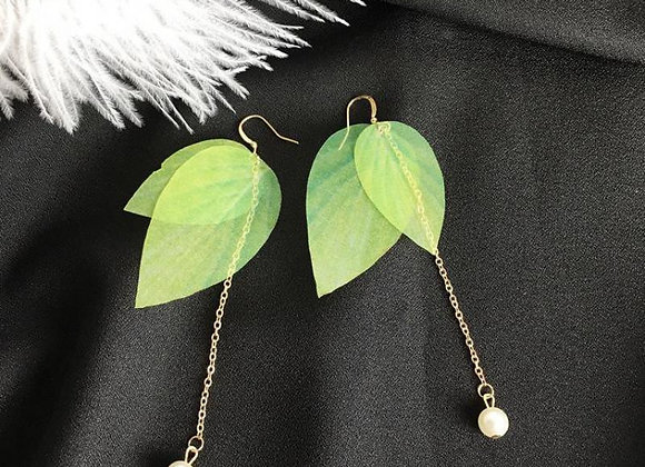 Green Leave Fashion Earrings With Gift Box