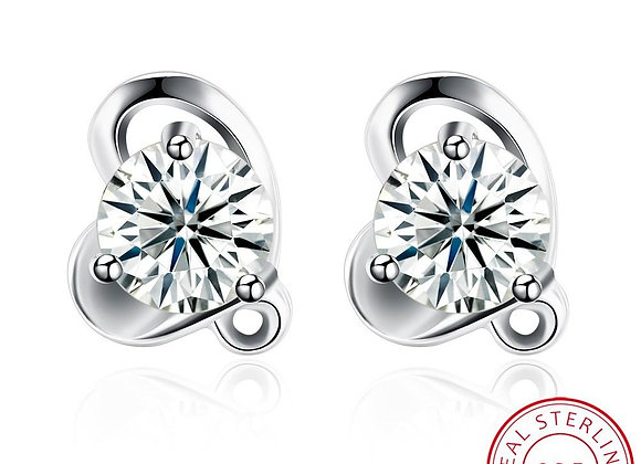 Heart Real Stud 925 SS Earrings With Gift Box