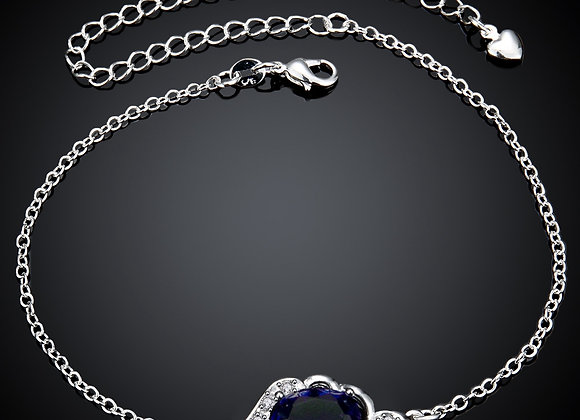 """Anklet Cubic Zirconia Blue Floral Micro Pave 5"""" Extender Chain"""