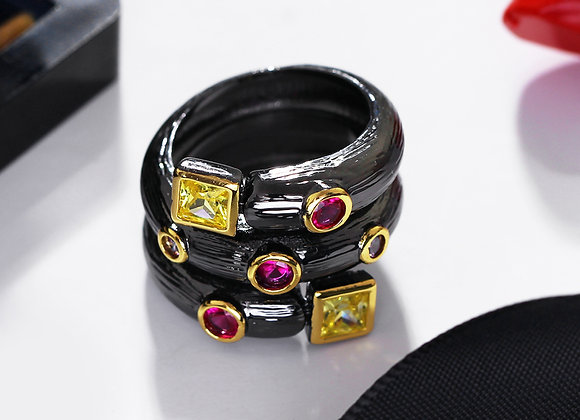 Ring Black with Multi Color Crystal Stones With Gift Box