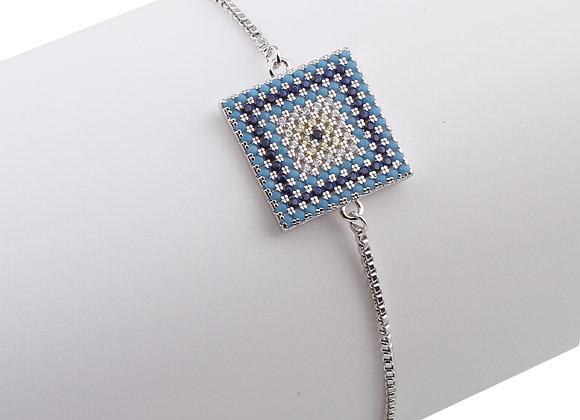 Cubic Zirconia Square Adjustable Bracelet